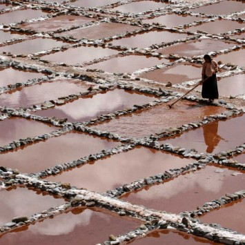 A labourer works at a salt production factory in Nangqian county