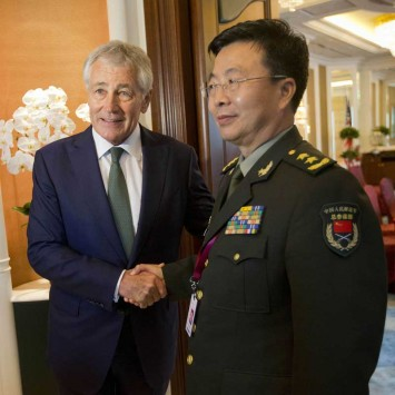 Hagel meets with Wang in Singapore