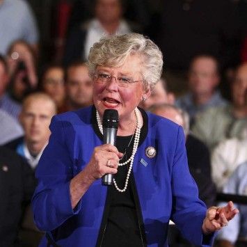 Alabama Lieutenant Governor Ivey speaks to a crowd at Thompson Tractor in Birmingham, Alabama