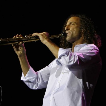 U.S. jazz musician and saxophonist Kenny G performs during a concert in Hong Kong