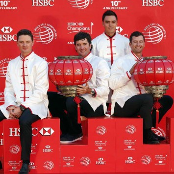 Golfers  Rose of England, Watson and Fowler of the United States, Scott of Australia and Kaymer of Germany attend a photo call for the WGC-HSBC Champions golf tournament on the Bund in Shanghai