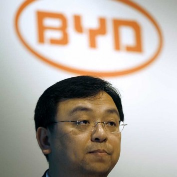 BYD Chairman and President Wang Chuanfu attends a news conference after announcing the company results in Hong Kong