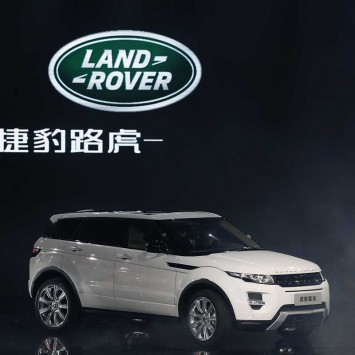 A Land Rover Evoque car is displayed during Chery Jaguar Land Rover plant opening ceremony in Changshu