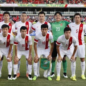 China's players line up for a team photo before the start of their Asian Cup Group B soccer match against North Korea at the Canberra stadium in Canberra