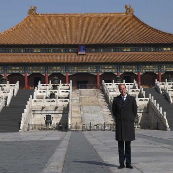 Britain's Prince William faces the media during a visit to the Forbidden City in Beijing