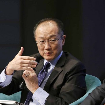 World Bank President Jim Yong Kim and Prime Minister Duncan of Cote d'Ivoire participate in the plenary session of the Fragility, Conflict and Violence Forum in Washington