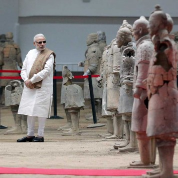 Indian Prime Minister Modi visits the Museum of Qin Terracotta Warriors and Horses, in Xian
