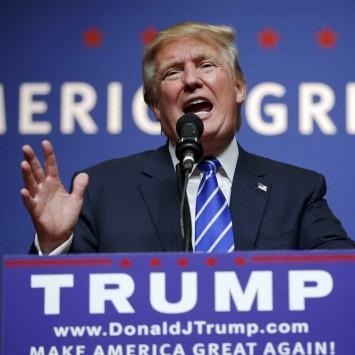 U.S. Republican presidential candidate Trump speaks at a campaign rally in Hampton