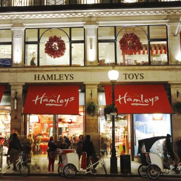 Exterior view of Hamleys toy shop in London
