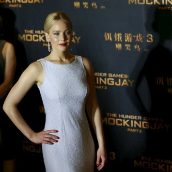 "Cast member Jennifer Lawrence poses at a red carpet event for the China premiere of ""The Hunger Games: Mockingjay - Part 2"" in Beijing"