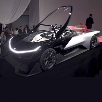 The Faraday Future FFZERO1 electric concept car is shown after an unveiling at a news conference in Las Vegas