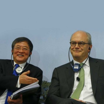 President of Syngenta Demare and Chairman of China National Chemical Corp Ren address annual news conference in Basel