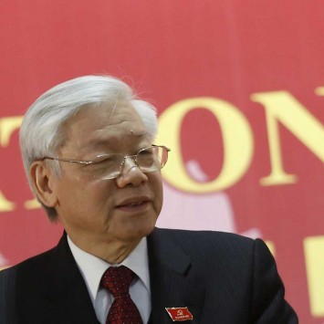 Vietnam's Communist Party Chief Trong speaks at a news conference after the Closing Ceremony of the 12th National Congress of Vietnam Communist Party in Hanoi, Vietnam