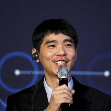 The worlds top Go player Lee Sedol speaks during news conference after the last match of the Google DeepMind Challenge Match against Google's artificial intelligence program AlphaGo in Seoul