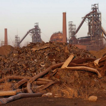 Facilities of a closed steel factory are seen in Tangshan