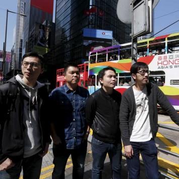 """Director Kiwi Chow, executive producer Andrew Choi and fellow directors Jevons Au and Ng Ka-leung of Hong Kong movie """"Ten Years"""" pose in Hong Kong"""