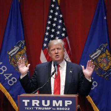 U.S. Republican presidential candidate Donald Trump speaks at a campaign rally in De Pere