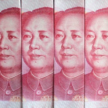 Picture illustration of Chinese 100 yuan banknotes