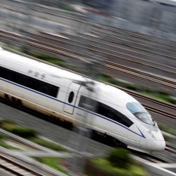A China Railway High-speed bullet train runs towards Beijing South Railway Station
