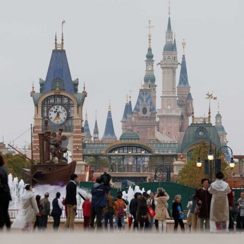 People visit Disney Town of Shanghai Disney Resort in Shanghai