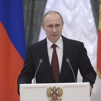 Russian President Putin speaks during a state awards ceremony in Moscow's Kremlin
