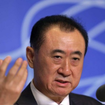 Wang Jianlin, Chairman of Wanda, speaks at a news conference for the opening a Wanda movie park in Wuhan