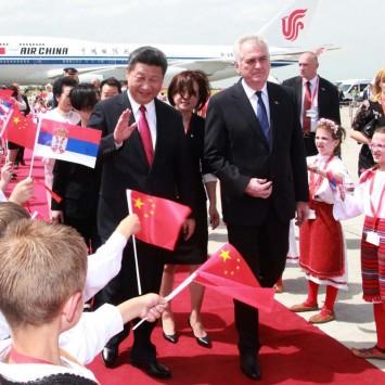 "Chinese President Xi Jinping walks with Serbian President Tomislav Nikolic during a welcoming ceremony at Belgrade's airport ""Nikola Tesla"", Serbia"