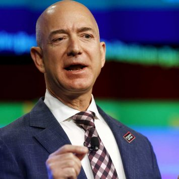 Owner Jeff Bezos delivers remarks at grand opening of Washington Post newsroom in Washington