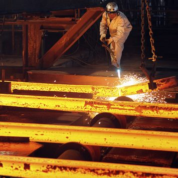 A labourer works at a Maanshan Iron and Steel factory workshop in Hefei