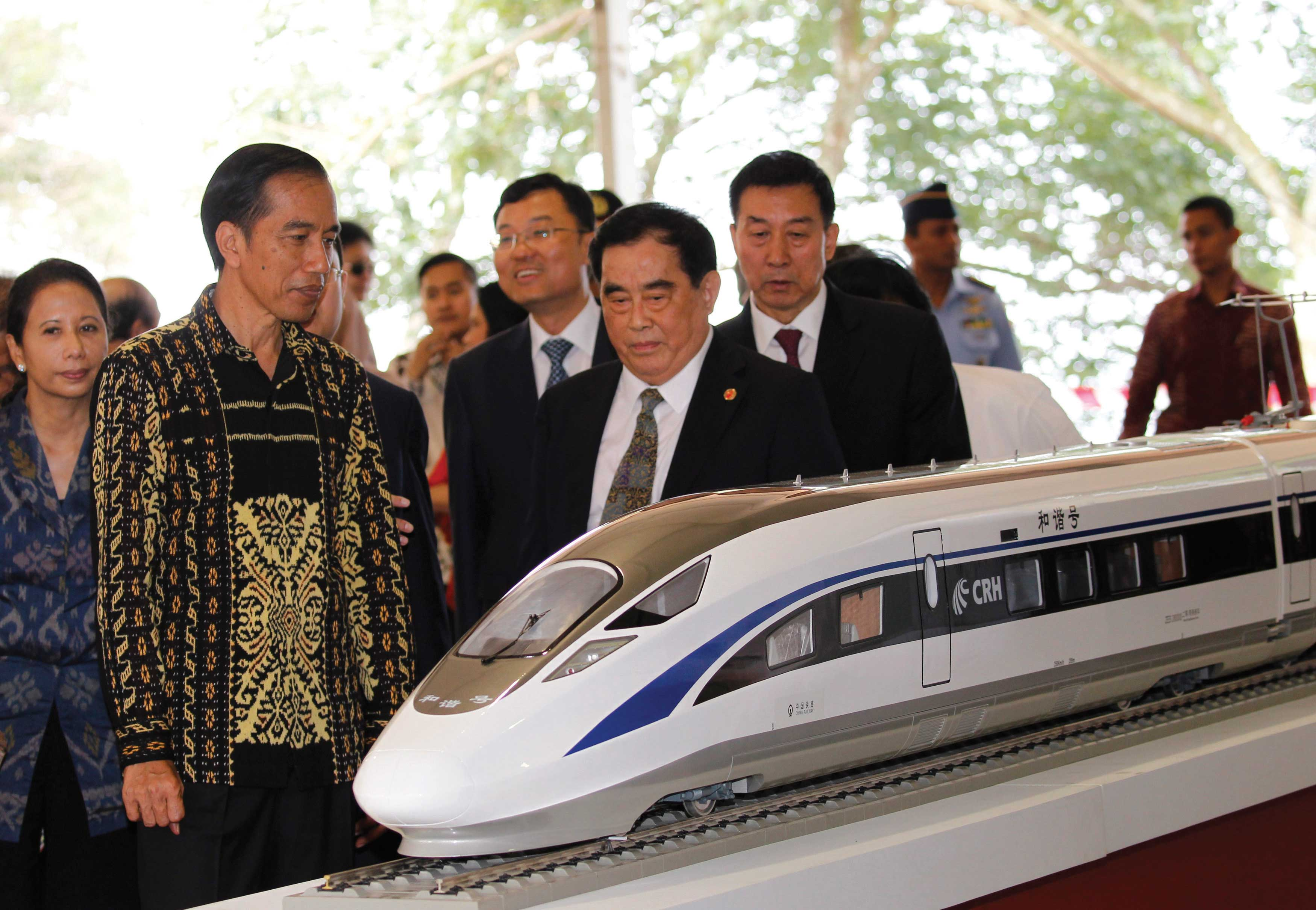 Indonesian President Joko Widodo at the ground breaking ceremony for the Jakarta-Bandung express line